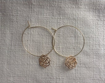 Rose Charm Hoop Earrings