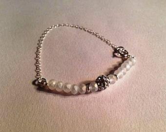 Flower Girl Bracelet - Wedding Jewelry - Crystal - Sterling Silver Jewellery Chain Wedding First Communion Baptism Everyday Fashion