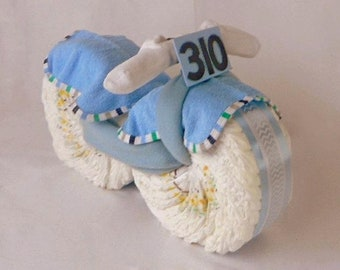 Dirt Bike Diaper Cake - Diaper Cake - Unique Gifts - Baby Shower Gift - Racing Theme Baby Shower - Baby Gift
