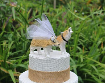 Timber Wolf Wedding Cake Topper: Handcarved Wooden Bride & Groom Grey Wolf Cake Topper