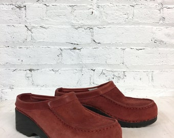 vintage 90s L.L. Bean red suede clogs / burgundy leather and suede wedge mules / oxblood mock toe shoes