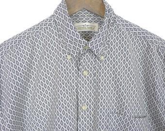 Men's Vintage Short Sleeve Shirt // Diamond Shaped Pattern // Men's Dress Shirt Size Medium