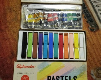 Vintage Drawing Painting Supplies, Alphacolor Pastels for Use & Box of Sakura Water Color Tubes for Display