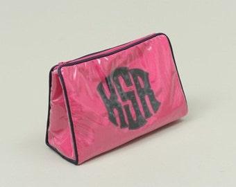 Custom Applique Monogram Ziptop Cosmetic Bag Small By Talley Ho