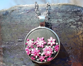 Pink, White, and Black Floral Polymer Clay Pendant Necklace