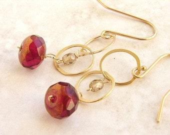 Crimson drop earrings, bridesmaid jewelry red gold champagne bridal earrings, bridal earrings wedding jewelry set