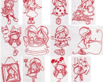 Wryn Redwork Three Redwork Machine Embroidery Designs 4x4 5x7 6x10 8x8