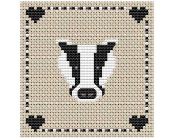 Bertie Badger - Cross Stitch Pattern - PDF Digital Download