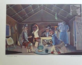 Florencio Molina Campos 'La cocina de los peones' Minneapolis Moline lithograph 1951