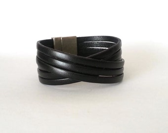 Leather bracelet, Wrap bracelet, Mens bracelet, multi strand cuff,  boho jewelry, cuf bracelet, wrap bracelet, mens leather gift, christmas