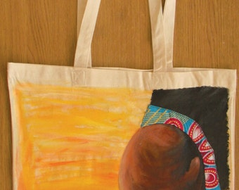 Hand painted tote canvas bag