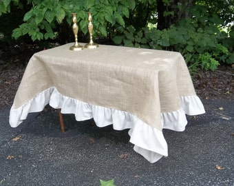 Perfect Ruffled Burlap Tablecloth Custom Tablecloth Ruffled Burlap Throw Tablecloth  Picnic Blanket Picnic Tablecloth French Country