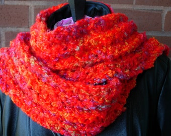 Fluffy red and multicolored crocheted scarf