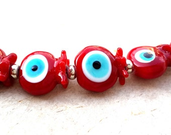 Pomegranate Lampwork Bead, Pomegranate Evil Eye Lampwork Bead, Protection Bead Set(5)