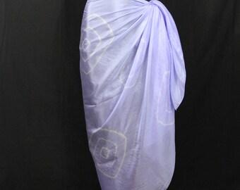 Silk Scarf Sarong Hand Dyed Kanoko Shibori Silk Beach CoverUp Ruana Lavender  Purple Hand Painted Silk Shawl Burning Man Plus Size