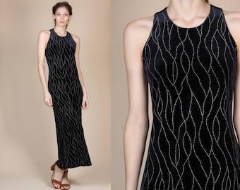 90s Velvet Bodycon Leaf Print Dress - Medium // Vintage Black White Ankle Length Grunge Maxi