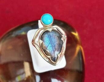 labradorite & Arizona Turquoise Ring