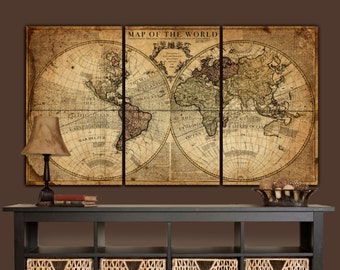 Globe Tan Map World Map Canvas, Vintage Map set, Large wall art, canvas wall art, vintage art, Map of World, Large art, Canvas Map