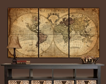 World map canvas etsy globe tan map world map canvas vintage map set large wall art canvas wall art vintage art map of world large art canvas map gumiabroncs Image collections