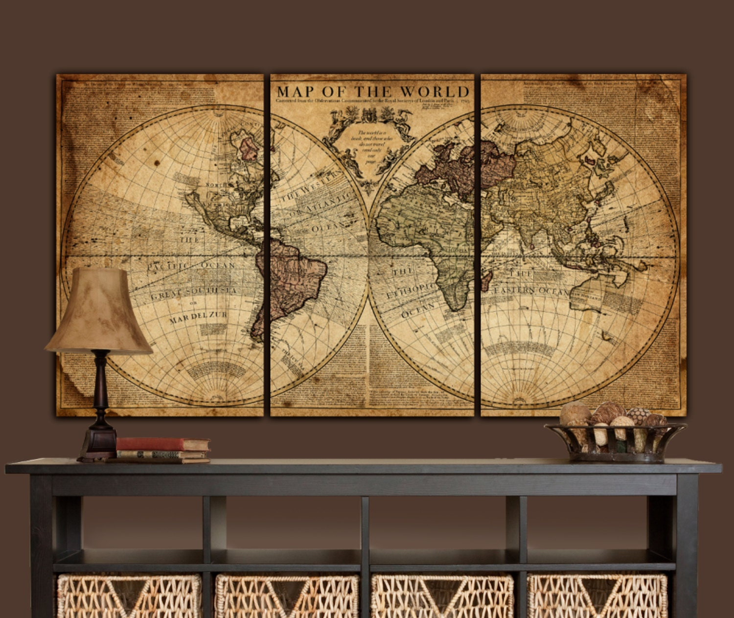 Large Wall Art Globe Tan Map World Map Canvas Vintage Map Set Large Wall