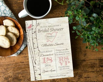 Rustic Birch Tree Bridal Shower  Invite, Valentine Invitation with Blush Pink Bird Birch Tree, Simple Casual, Printable Invites,