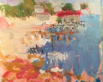 Spain coast,  ocean scene, Mediterranean  abstract seaside art in blue ocean,  Russ Potak Artist