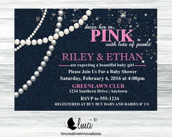 Denim Diamonds and Pearls Baby Shower Invitation, It's a Girl Baby Shower Invitation - Digital File