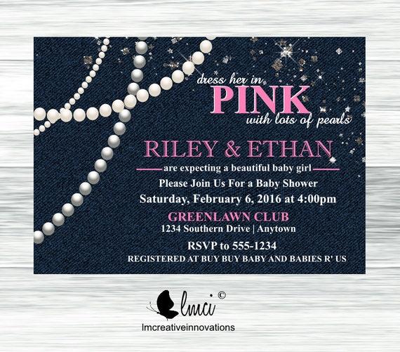Denim Diamonds And Pearls Baby Shower Invitation Itu0027s A
