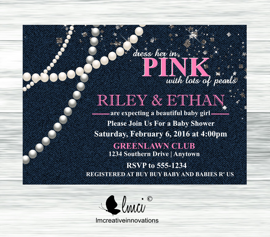 Denim Diamonds and Pearls Baby Shower Invitation It\'s a