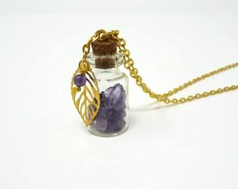 Gemstone Bottle Necklace - Genuine Amethyst Necklace - Chakra Gemstone Bottle Necklace - Healing Necklace - Glass Bottle Necklace - Gift