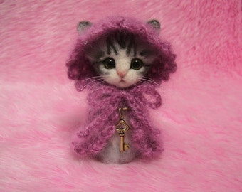 "Needle Felted Silver Tabby Cat in Cape with Hood: Japanese ""Kokeshi"" Doll Style Miniature Wool Cat"