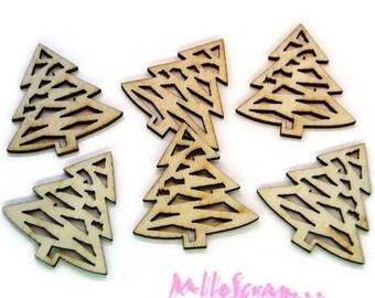 Set of 6 Christmas trees decoration scrapbooking wood *.