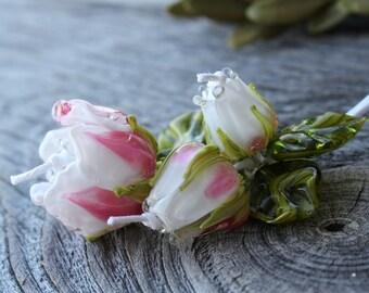Lampwork Flower Beads - Set of 7 pc Glass Rose Beads, Glass Beads, Handmade Lampwork Flower Beads