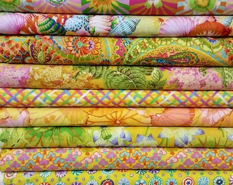Kaffe Fassett Fabric Bundle - Yellow colorway   12 different fabrics