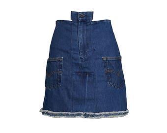 Reworked Denim Notch Skirt - Women's Size S