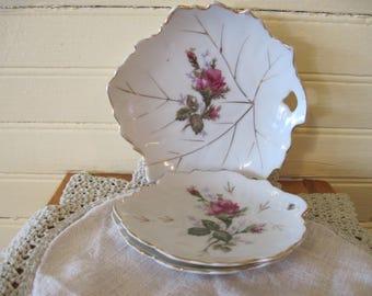 Set of 3 Moss Rose Coaster/Tinket Plates - Item #1467