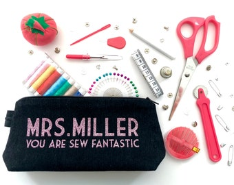 Teacher Gift Personalised Luxury Travel Sewing Kit