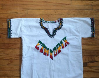 Vintage Ethiopia Green Yellow and Red Embroidered Crop Top Shirt