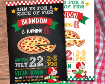 Pizza Birthday Invitation, Pizza Party Invitation, Little chef invitation, Cooking party Invitations, DIGITAL, 2 Options