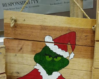 Grinch Pallet Sign, Reclaimed Wood Painting, Rustic Art, Christmas, Gift Exchange
