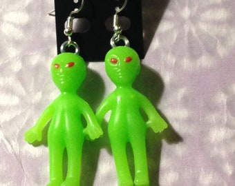 Green space Alien Martian extraterrestrial earrings