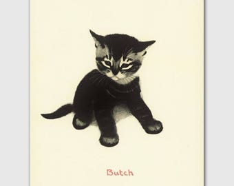 "Cat Wall Art, Cat Print (Girl Nursery Wall Art, Vintage Childrens Book Art) --- ""Butch"""
