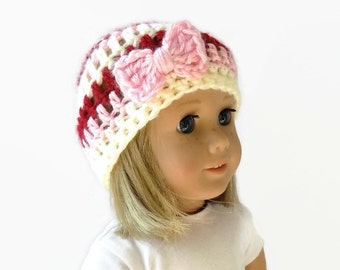 Doll Hat - 18 Inch Doll Clothes - Valentine's Day Hat - Bow Beanie