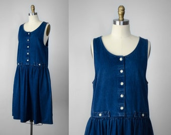 oversized denim dress | denim pinafore | dark blue jean dress | sleeveless denim dress | oversized jean dress | oversized pinafore