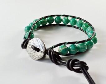 Leather Beaded Single Wrap Bracelet Turquoise Glass Beads