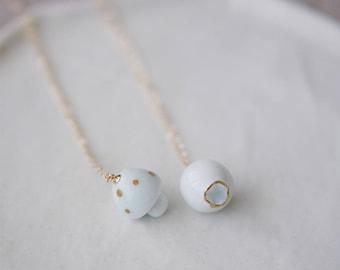 Mushroom necklace, Berry necklace Forest necklace Woodland necklace Mushroom pendant Porcelain mushroom Birthday gift-boohua
