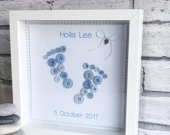 Handmade Framed Button Artwork, New Baby Keepsake, Button Picture, Baby Footprints, Nursery Picture, New Baby, Baby Shower Gift