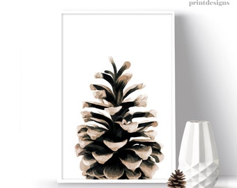 Printable Pinecone Poster, Pinecone Print, Botanical Decoration, Modern Wall Art, Winter Print, Christmas Gift, Winter Wall Art, Winter Art