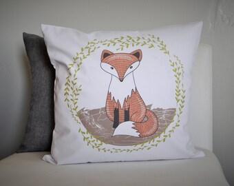 Fox Pillow Cover, Fox nursery decor, woodland nursery, woodland bedroom, woodland decor, fox decor, 18x18, natural or white