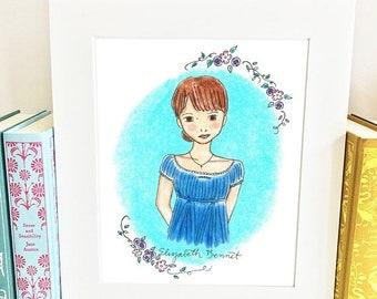ON SALE Elizabeth Bennet Print - Pride and Prejudice Print - Wall Art - Jane Austen - illustration - HE1